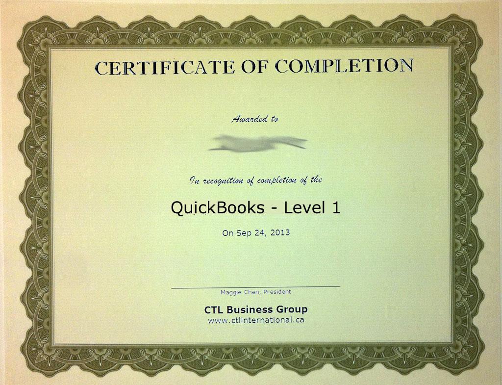 QuickBooks, Level 1 Training Certificate